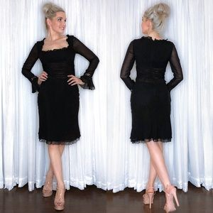 Long Sleeve Black Special Occasion Dress